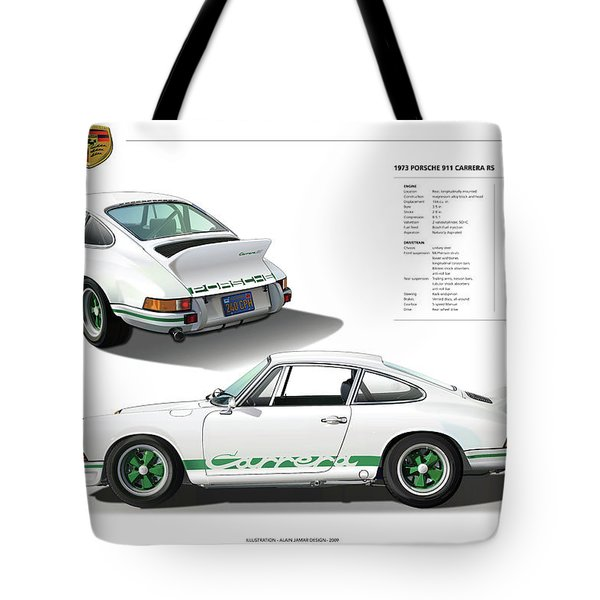 Porsche 911 Carrera Rs Illustration Tote Bag