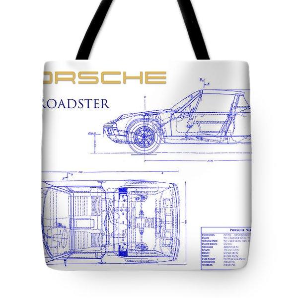Porsche 914 Blueprint Tote Bag