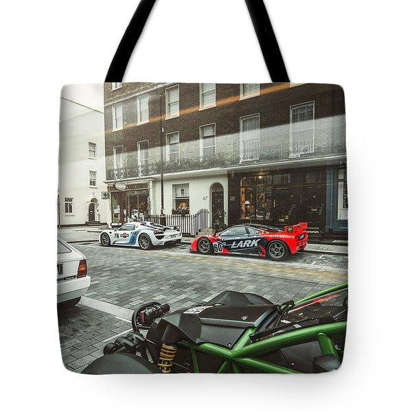 Porsche 918 Mclaren F1 Gtr Ferrari Specialea Ariel Nomad And Lancia Delta Integrale Tote Bag