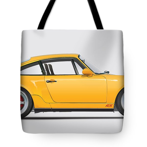 Porsche 964 Carrera Rs Illustration In Yellow. Tote Bag