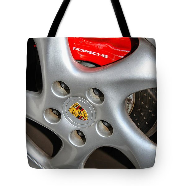 Tote Bag featuring the photograph Porsche Brakes by Robert Hebert
