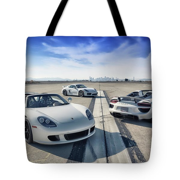 Tote Bag featuring the photograph #porsche #carreragt,  #918spyder,  #cayman #gt4 by ItzKirb Photography