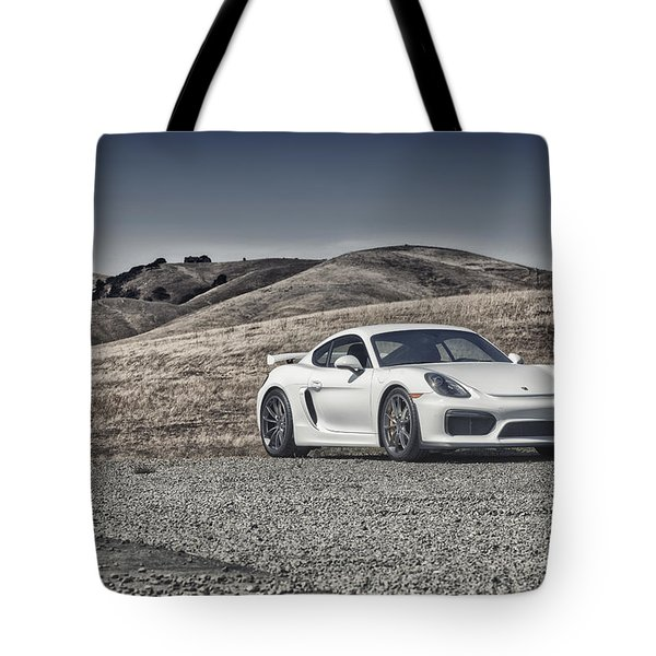 Porsche Cayman Gt4 In The Wild Tote Bag