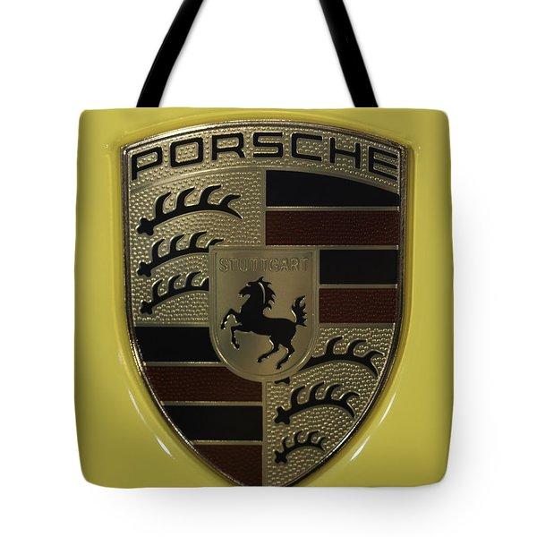 Porsche Emblem On Racing Yellow Tote Bag