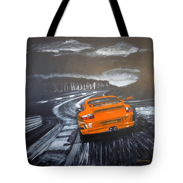 Tote Bag featuring the painting Porsche Gt3 @ Le Mans #3 by Richard Le Page