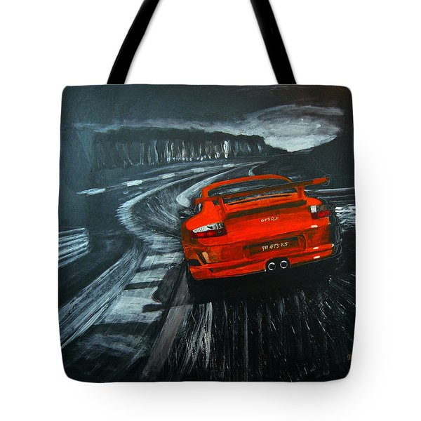 Tote Bag featuring the painting Porsche Gt3 Le Mans by Richard Le Page