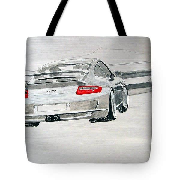 Tote Bag featuring the painting Porsche Gt3 by Richard Le Page