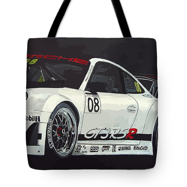 Tote Bag featuring the painting Porsche Gt3 Rsr by Richard Le Page