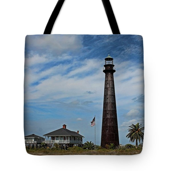 Tote Bag featuring the photograph Port Bolivar Lighthouse by Judy Vincent
