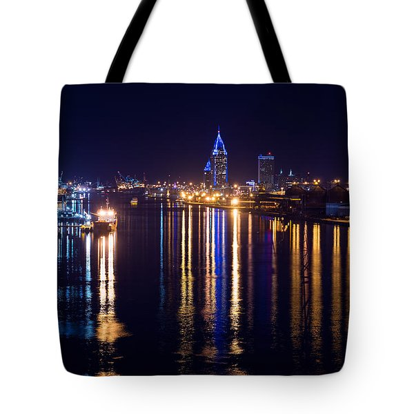 Port City In Blue Tote Bag