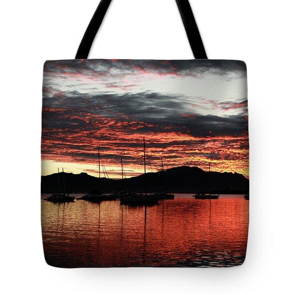 Port Denarau Fiji At Sunrise Tote Bag