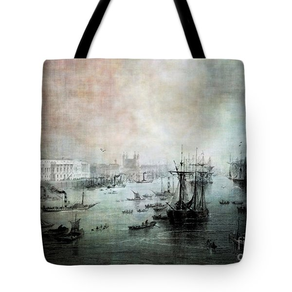 Port Of London - Circa 1840 Tote Bag by Lianne Schneider