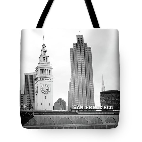 Tote Bag featuring the mixed media Port Of San Francisco Black And White- Art By Linda Woods by Linda Woods