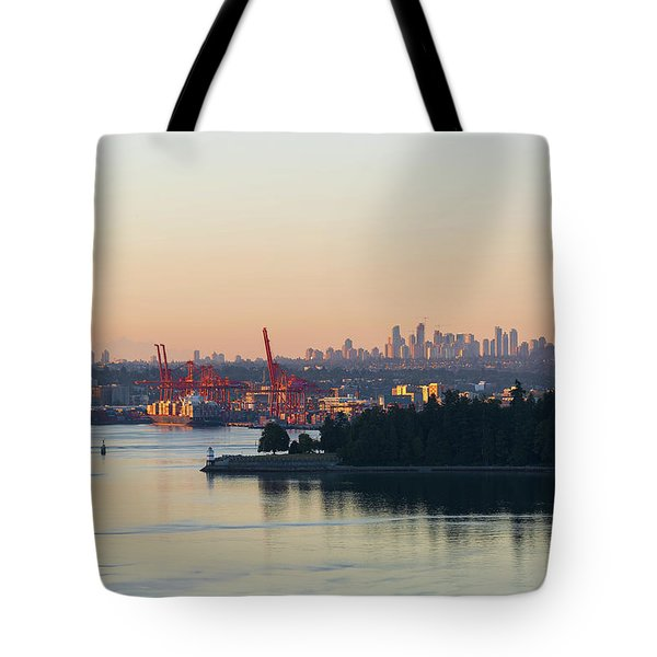 Port Of Vancouver By Stanley Park Tote Bag by David Gn