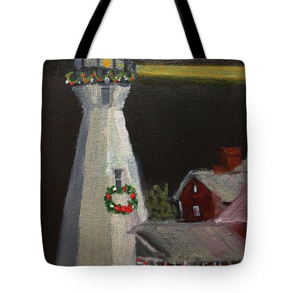 Port Sanilac Lighthouse At Christmas Tote Bag