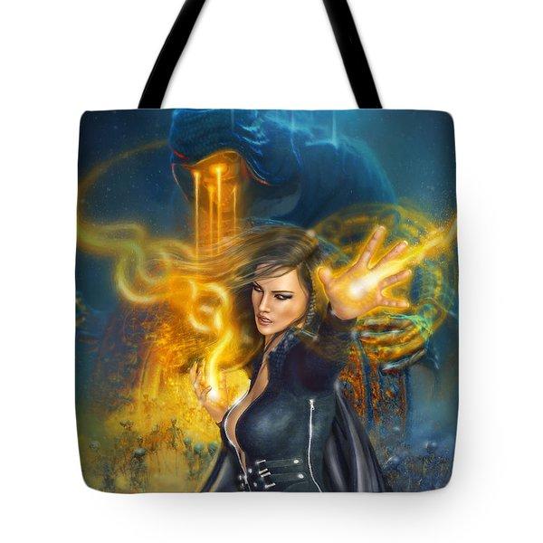Tote Bag featuring the digital art Portal Magician by Uwe Jarling