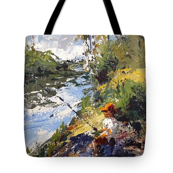 Tote Bag featuring the painting Porter Fishing Under The Cypress Trees by Sandra Strohschein