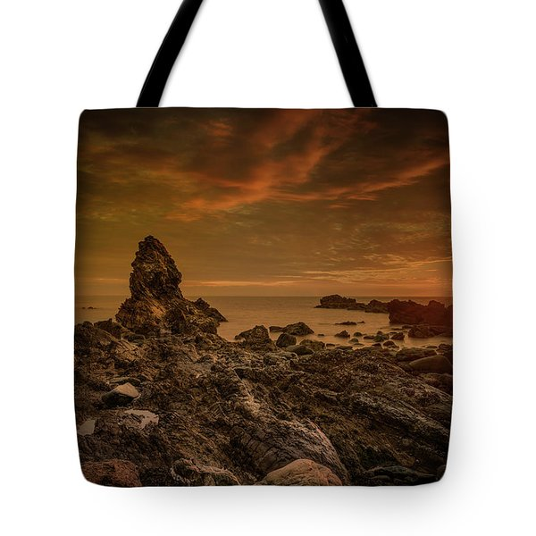 Porth Saint Beach At Sunset. Tote Bag