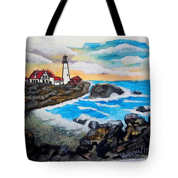 Porthead Lighthouse Maine In Watercolors Tote Bag