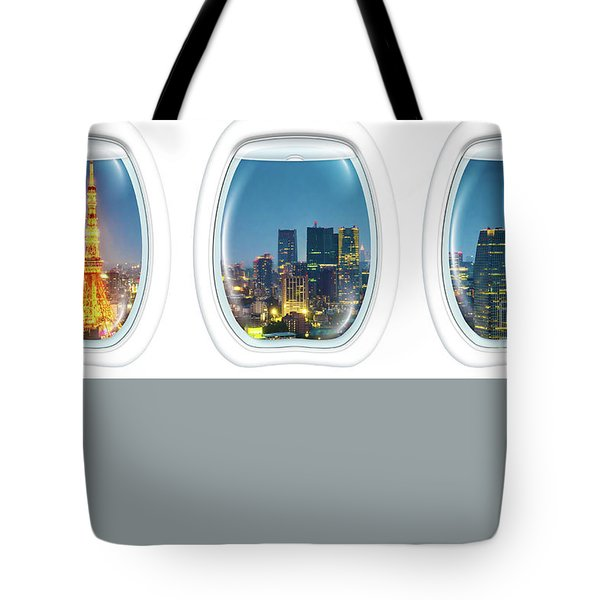 Tote Bag featuring the photograph Porthole Frame On Tokyo Tower by Benny Marty