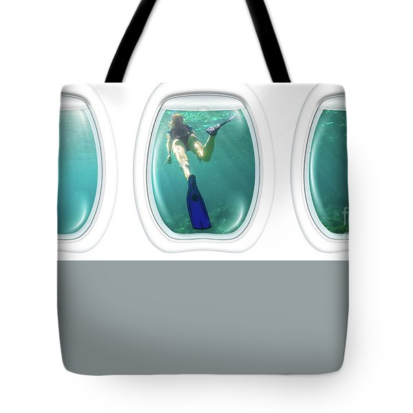 Porthole Windows On Coral Reef Tote Bag