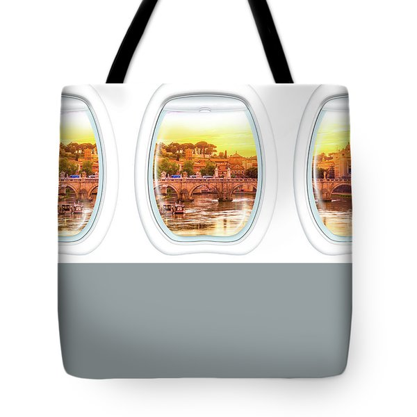 Tote Bag featuring the photograph Porthole Windows On Rome by Benny Marty