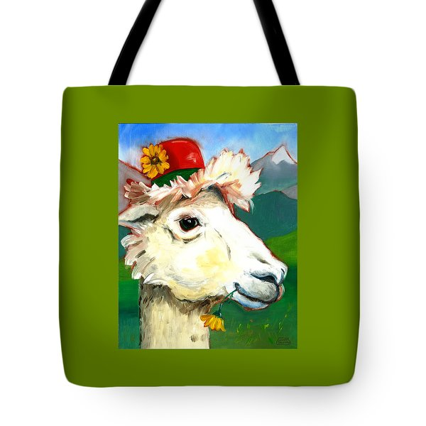 Tote Bag featuring the painting Portland Alpaca by Susan Thomas