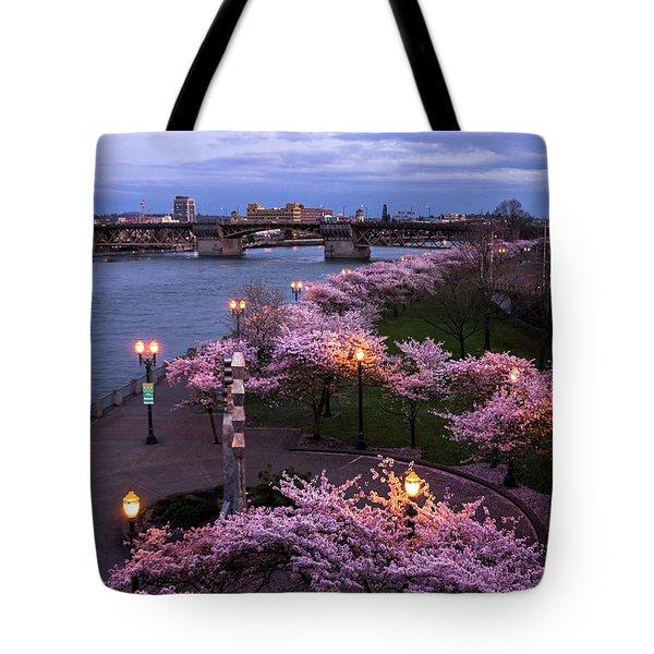 Portland Cherry Blossoms Tote Bag