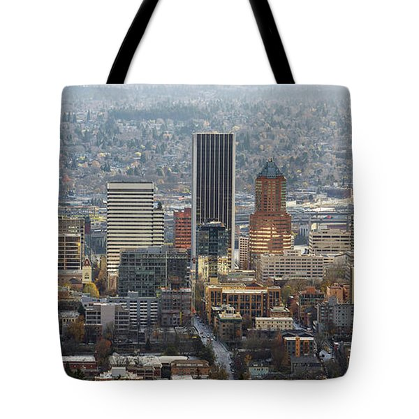 Portland City Downtown Cityscape Panorama Tote Bag by David Gn