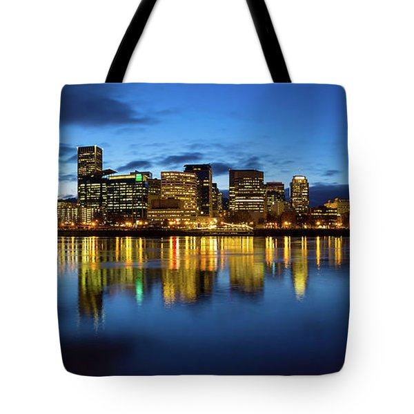 Portland City Skyline Blue Hour Panorama Tote Bag by David Gn