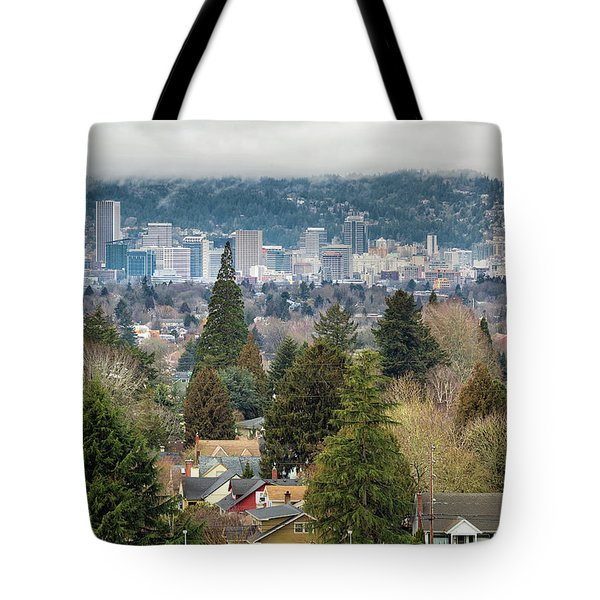 Portland City Skyline From Mount Tabor Tote Bag by David Gn