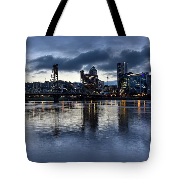 Portland City Skyline With Hawthorne Bridge At Dusk Tote Bag by David Gn