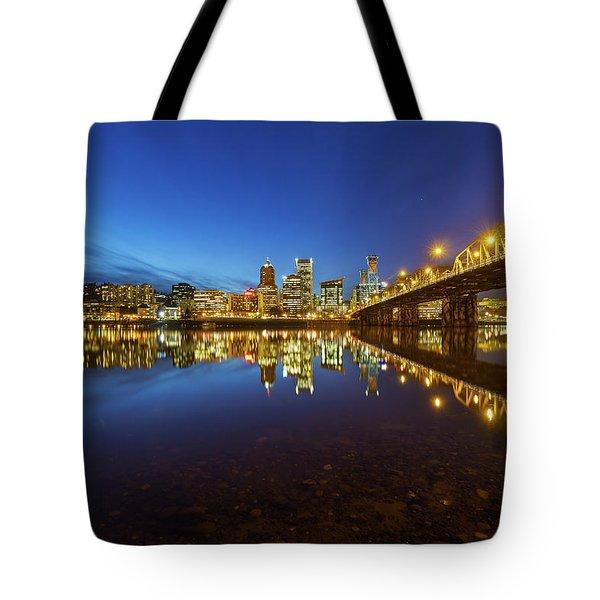 Portland Downtown Blue Hour Tote Bag