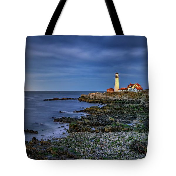 Tote Bag featuring the photograph Portland Head Aglow by Rick Berk