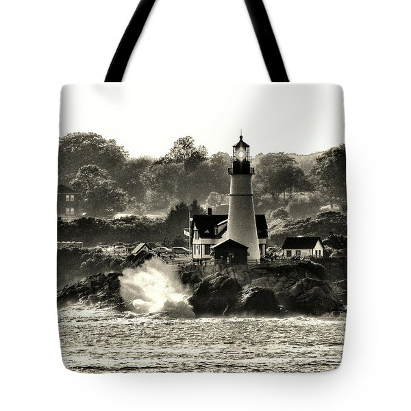 Portland Head Light At Cape Elizabeth In Black And White Tote Bag