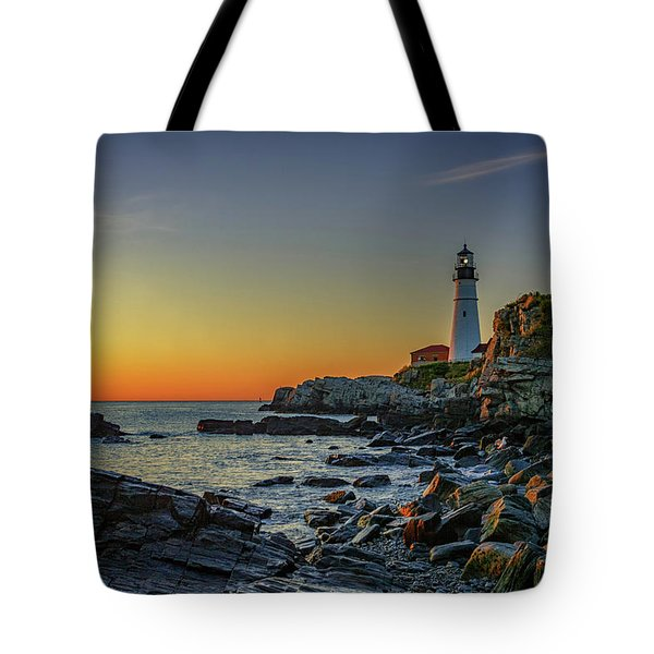 Portland Head Light At Dawn Tote Bag