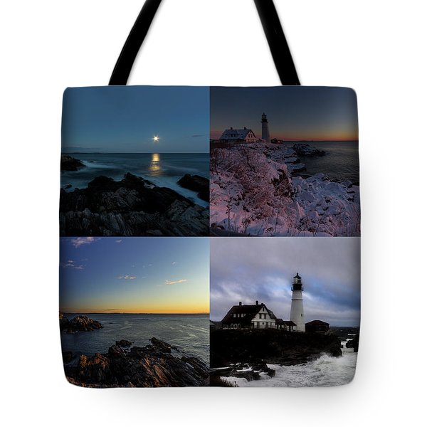 Tote Bag featuring the photograph Portland Head Light Day Or Night by Darryl Hendricks