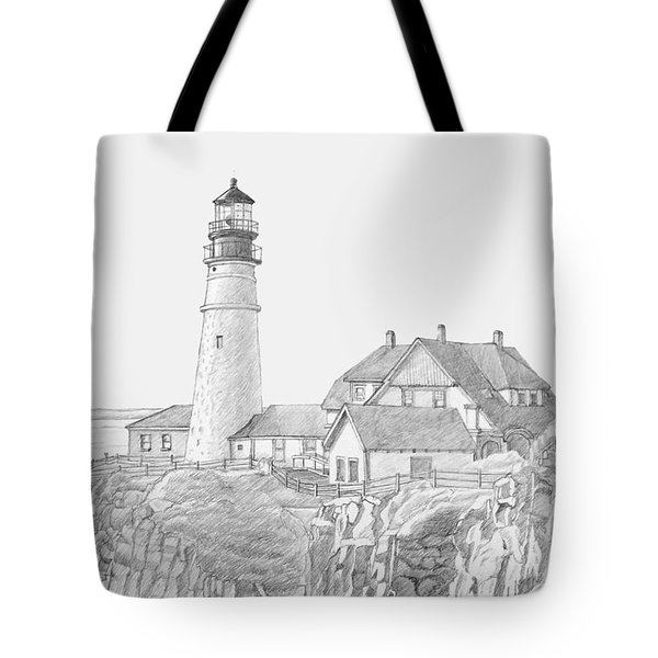 Portland Head Light Drawing Tote Bag