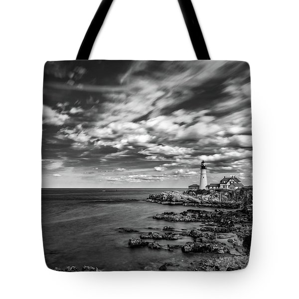 Portland Head Light In Black And White Tote Bag