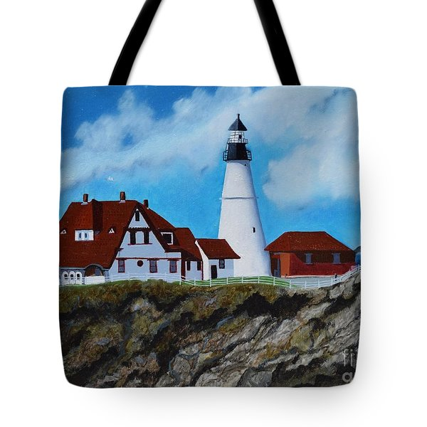 Portland Head Light In Maine Viewed From The South Tote Bag