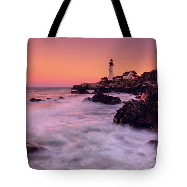 Portland Head Light In Pink  Tote Bag
