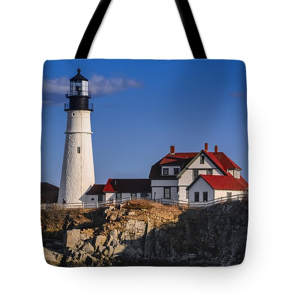 Tote Bag featuring the photograph Portland Head Light No. 43 by Mark Myhaver