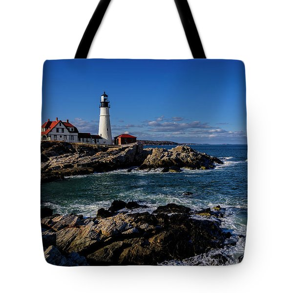 Tote Bag featuring the photograph Portland Head Light No.32 by Mark Myhaver