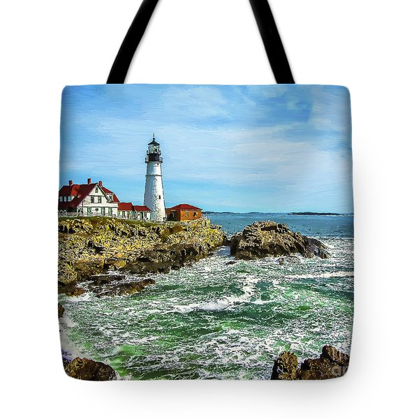 Portland Head Light - Oldest Lighthouse In Maine Tote Bag