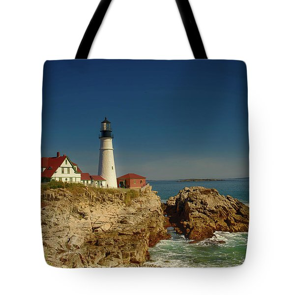 Portland Head Lighthouse 2 Tote Bag by Sherman Perry