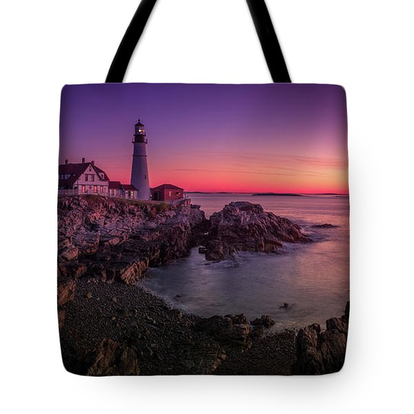 Tote Bag featuring the photograph Portland Head Lighthouse Sunrise  by Emmanuel Panagiotakis