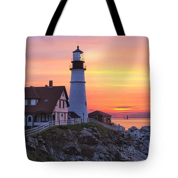 Portland Head Lighthouse Sunrise Tote Bag