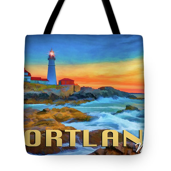 Portland Head Lighthouse Vintage Travel Poster Tote Bag