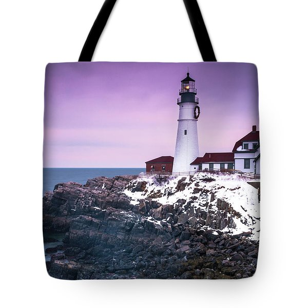 Maine Portland Headlight Lighthouse In Winter Snow Tote Bag