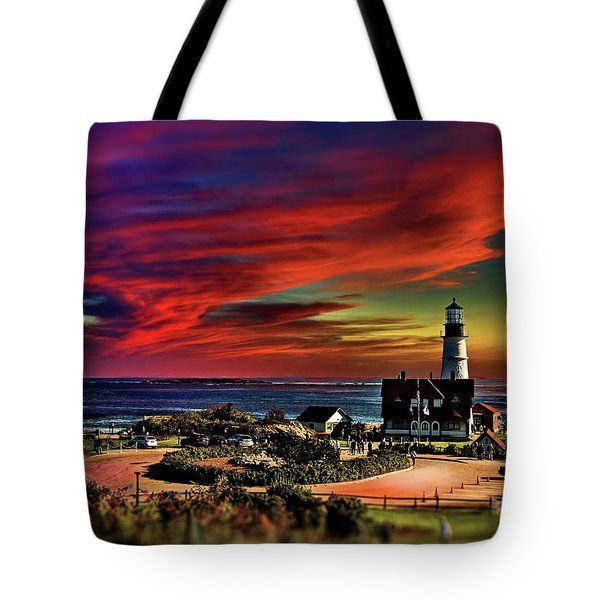 Portland Headlight Lighthouse At Sunset, Maine Tote Bag